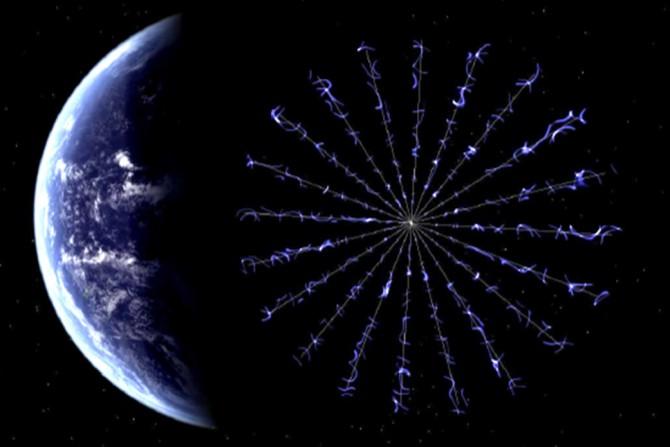 미국항공우주국(NASA)이 개발 중인 'E 세일(Sail)'의 상상도. 가늘고 긴 와이어가 원형을 이루며 돛 역할을 한다. - NASA 제공